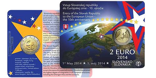 2 € - 10. výročí vstupu Slovenska do Evropské Unie - SBĚRATELSKÁ KARTA