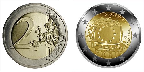 2 € - 30. výročí vlajky Evropské Unie