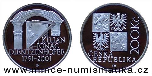 200 Kč - 250. výročí úmrtí Kiliána Ignáce Dientzenhofera
