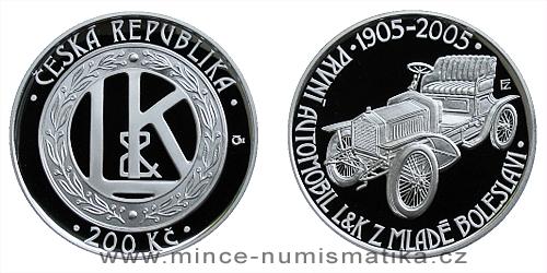 200 Kč - 100. výročí výroby prvního automobilu v Mladé Boleslavi