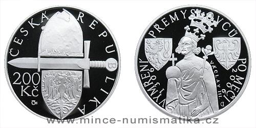 200 Kč - 700. výročí vymření Přemyslovců po meči Václavem III.