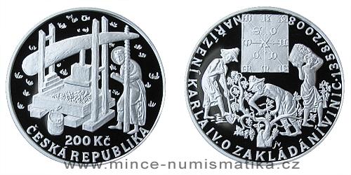 200 Kč - 650. výročí vydání nařízení Karla IV. o zakládání vinic