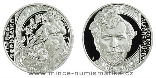 200 Kč - 150. výročí narození Alfonse Muchy