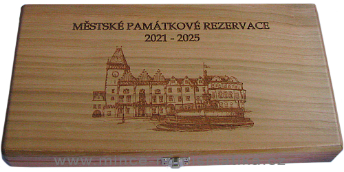 Dřevěná etue MĚSTSKÉ PAMÁTKOVÉ REZERVACE 2021 - 2025