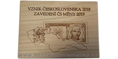Dřevěná etue Vznik ČSR 2018 a Zavedení ČS měny 2019