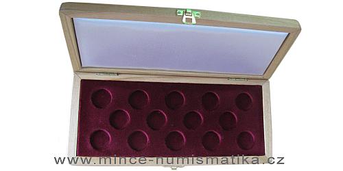Dřevěná etue na 14 kusů Svatováclavských jednodukátů