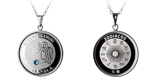 Stříbrný medailonek Znamení zvěrokruhu - Blíženci ( 21.5. - 21.6. )