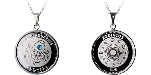 Stříbrný medailonek Znamení zvěrokruhu - Vodnář ( 21.1. - 20.2. )