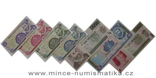 Nicaragua - série 7 kusů bankovek UNC