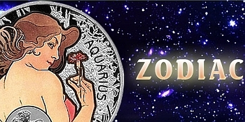 """12x 1 $ - """"A. MUCHA's"""" zodiac series - celá série v dřevěné etuji"""