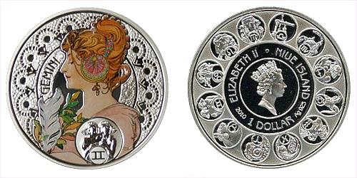 "1 $ - ""A. MUCHA's"" zodiac series - Blíženci"