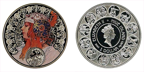 "1 $ - ""A. MUCHA's"" zodiac series - Lev"