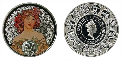 """1 $ - """"A. MUCHA's"""" zodiac series - Panna"""