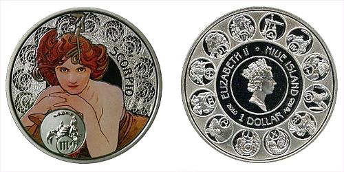 """1 $ - """"A. MUCHA's"""" zodiac series - Štír"""