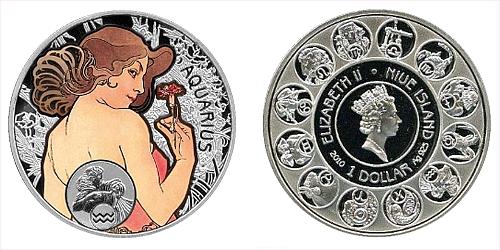 "1 $ - ""A. MUCHA's"" zodiac series - Vodnář"