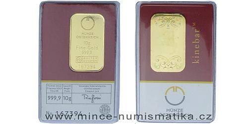 Zlatý slitek 10 g  Münze Österreich (včetně Kinegram TM - Lipicán)