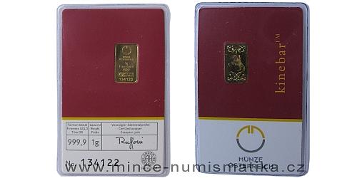 Zlatý slitek 1 g Münze Österreich (včetně Kinegram TM - Lipicán)