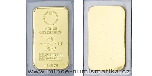 Zlatý slitek 20 g Münze Österreich