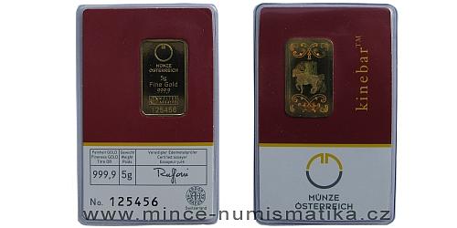 Zlatý slitek 5 g  Münze Österreich (včetně Kinegram TM - Lipicán)