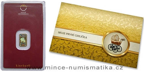 Zlatý slitek 1 g Münze Österreich v dárkovém balení
